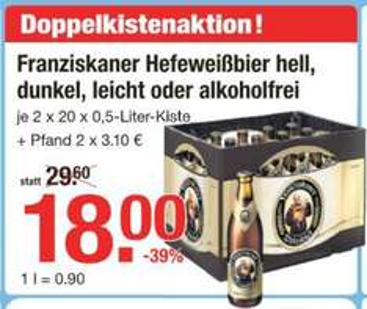 [V-MARKT] 2 Kisten Franziskaner Weißbier / 18,00€ zzgl. Pfand