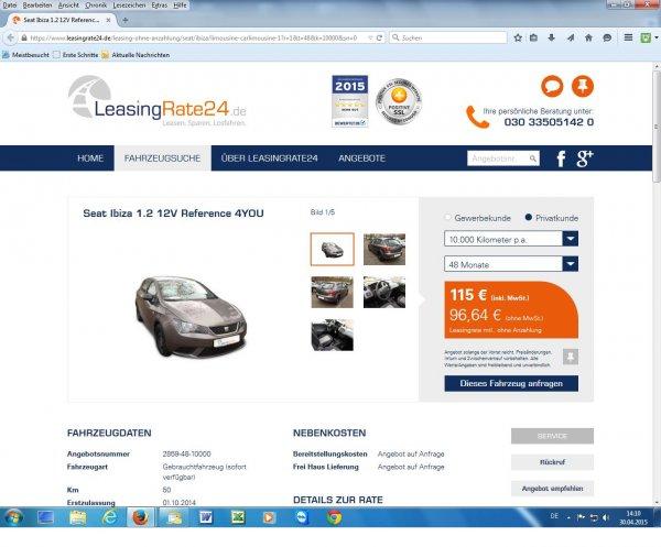 Supergünstiges Leasing-Schnäppchen : SEAT Ibiza für 115 € im Monat, bei LeasingRate.24