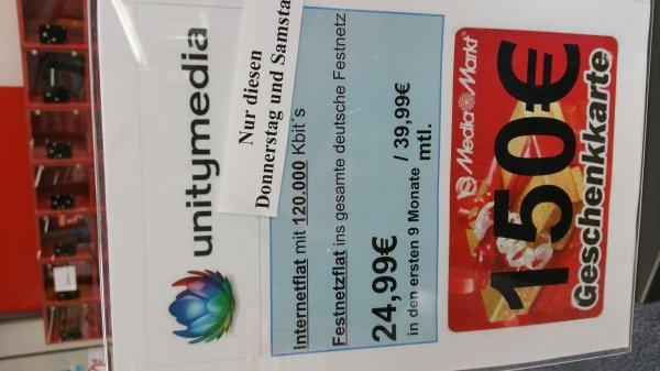 unitymedia Aktion Media Markt Heilbronn (Lokal) 2play Comfort 120 + 150€ Gutschein