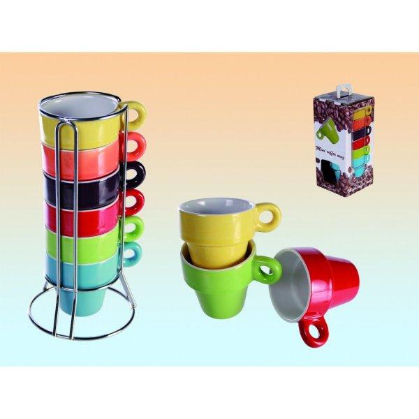 Espresso-Set Tassenset von SalesFever 6 Tassen Bunt im Ständer + Geschenkbox für 1 € @ eBay