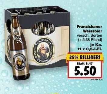[Kaufland NRW KW 19 / 4.-9.5.] Franziskaner Weißbier (versch. Sorten) 11*0,5 Liter für 5,50€