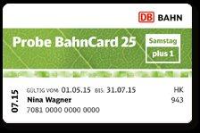 """Probe BahnCard 25 """"Samstag plus 1"""" für 25€ - 2. Person reist samstags gratis (bis 31.07.2015) (+Qipu)"""