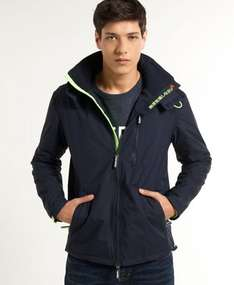 Herren Superdry Hooded Polar Windhiker Jacke French Blau WJD