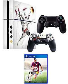 Sony PS4 500GB + 2. Controller + FIFA 15 im Weltmeister-Design (optional) 358,21 € [Quelle]
