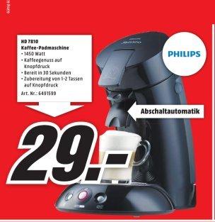 [Lokal Mediamarkt Weiterstadt] Philips Senseo Original HD 7810/60 schwarz für 29,-€