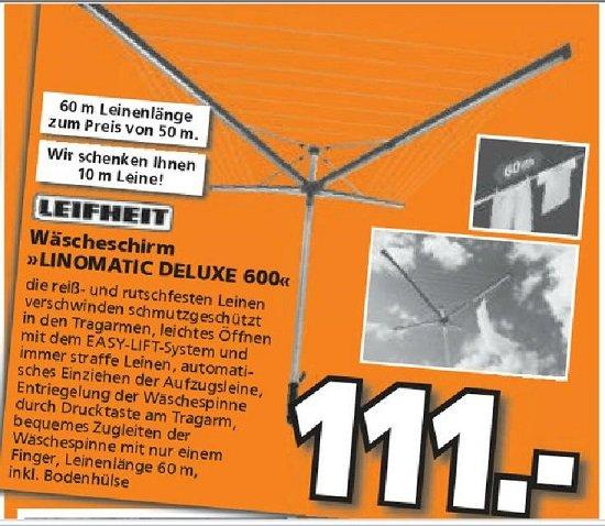 Leifheit LINOMATIC 600 Deluxe - Wäschespinne [Lokal] Bundesweit GLOBUS Baumarkt - Ersparnis 13% - nächst. Preis 127,95€