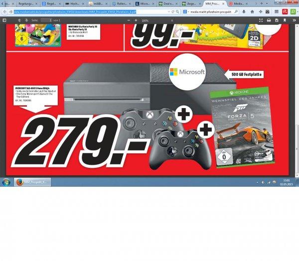 (MediaMarkt lokal Pforzheim) Xbox one + 2.Controller + Forza Motorsport 5 = 279€ Verkaufsoffener Sonntag 3.5.2015 13-18Uhr