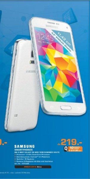 [Lokal Saturn Bergisch Gladbach] Samsung Galaxy S5 Mini G800F 16GB White für 219,-€.Nur am 03.05