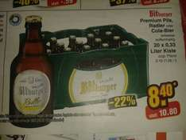 [reebate/Netto MD] KW19: Bitburger 20x0,33 Liter Kiste Premium Pils, Radler,  Cola-Bier 6,40 Euro