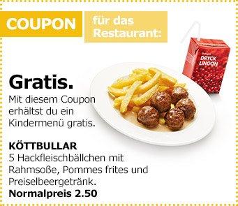 [IKEA] gratis Köttbullar Menü mit Pommes und Getränk