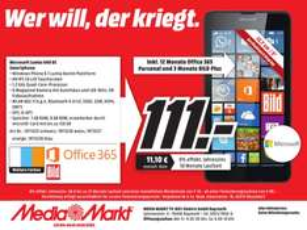 [lokal Bayreuth] Microsoft Lumia 640 Dual-Sim Smartphone mit 12 Monate Office365 Personal und 3 Monate BILD Plus für 111,00€ @ Media Markt