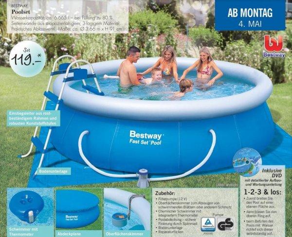 119 € Bestway Pool 366 x 91cm mit viel Zubehör @Lidl