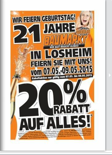 Lokal Globus Losheim Baumarkt 20% auf alles