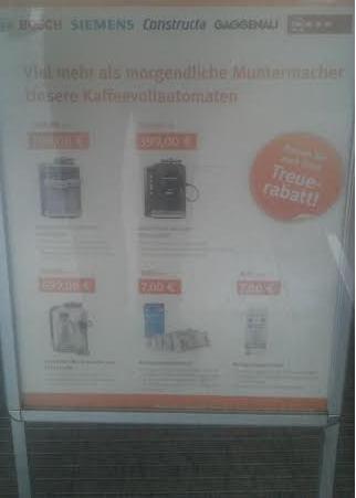 """Bundesweit (?) - Kaffeevollautomaten im  """"Service Shop"""" u.a. Siemens EQ6 700   TE607503DE ab 719,90€  (mit Treuerabattschein)"""