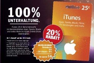 Offline - HIT - iTunes 25€ Gutscheinkarte für 20€ = 20% Rabatt