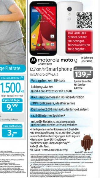 Motorola moto g2 Aldi süd ab 7.5