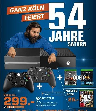 [Lokal Saturn Märkte Köln] XBoxOne 500 GB + 2 Controller + Halo-The Masterchief oder Forza 5 für 299,-€***XBoxOne GTA 5 für 25,-€