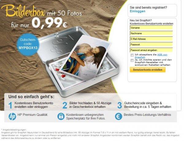 [Snapfish by HP] 50 Fotos in Geschenkebox für 0,99€ +VSK ca 4,99€ (für Neukunden) statt 9,99+VSK