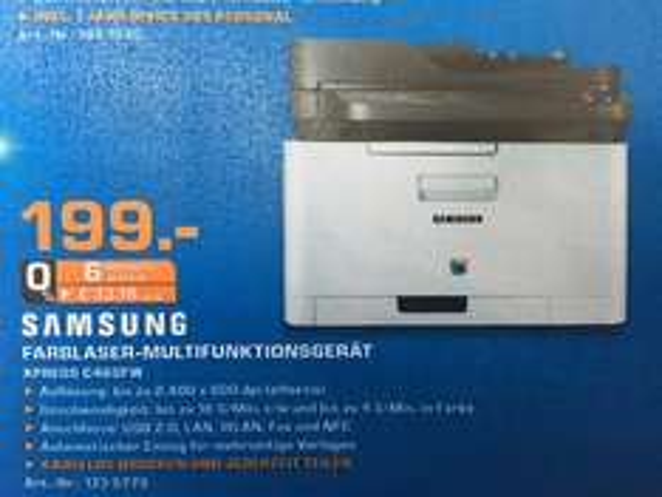 (Lokal) Saturn Berlin & Potsdam Samsung Xpress C460FW Farblaser-Multifunktionsdrucker für 199€