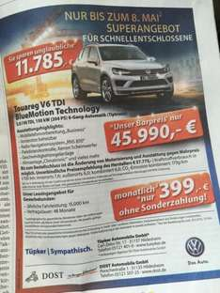 [Geschäfts&Privatkunden (Evtl. lokal)] VW Touareg 3.0 TDI Leasing 399€ mtl. netto
