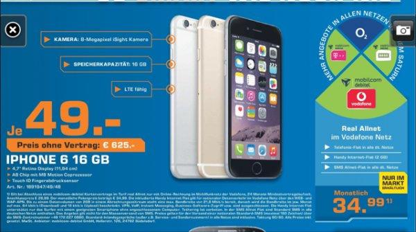 (Lokal Köln) iPhone 6 einm. 49 Euro - Mobilcom Debitel Vodafone Real Allnet - 2 GB - 34,99 Euro/Monat