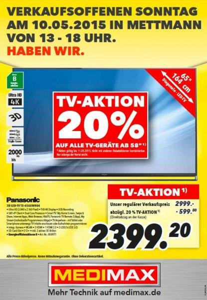 MEDIMAX - 20% auf ALLE TVs ab 58 Zoll --> TX65-AXW804 2.399,20€