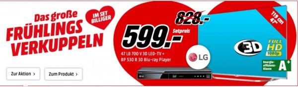 "LG 47LB700V TV (47"", 3D, WLAN, 800Hz) & LG BP530R 3D-Blu-Ray-Player - 598,99€ @ MediaMarkt.de"
