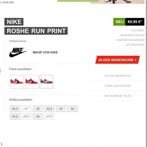 Sidestep - Auf alles 25% Rabatt z.B. Roshe Run Print für 67,64 €