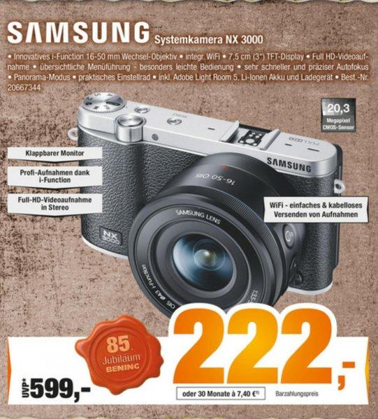 [Expert Bening (Norddeutschland)] Samsung Systemkamera NX3000 16-50mm für 222€