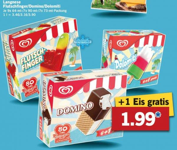 [Lidl/Bundesweit] Langnese 9x Flutschfinger/7x Domino/7x Dolomiti für jeweils 1,99€ ab 11.05.2015
