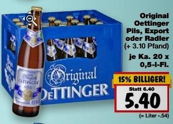 [Kaufland Bundesweit KW 20] Kasten Oettinger 20x0,5l Pils/Export/Radler für 5,40€