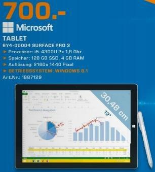 [Lokal] Surface Pro 3 i5 128GB - Saturn Lüdenscheid - 700€