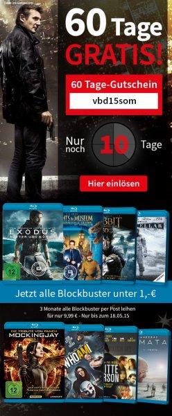(videobuster.de) 3 Monate All-in-4 Paket (12 Blu-Ray Filme leihen) für 9,99 EUR (oder bei Payback für 999 Punkte)