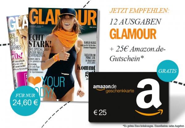 GLAMOUR im 12 Monate Prämienabonnement mit 0,40 € Gewinn durch Amazon Gutscheinprämie