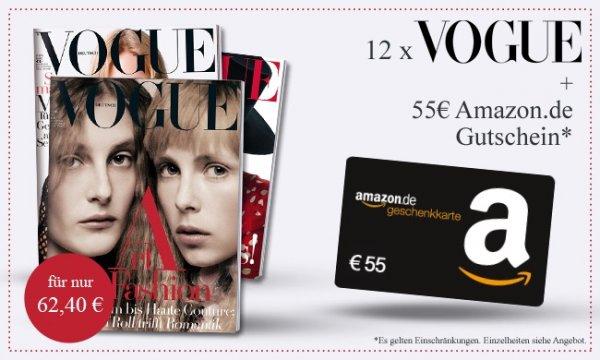 12x Vogue (Jahresabo) für 62,40€ inkl. 55€ Amazon Gutschein (effektiv 7,40€)