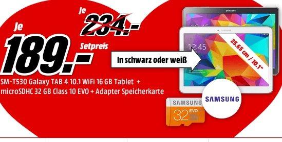 Samsung Galaxy Tab 4 10.1 Wifi + 32 GB EVO microSD für 189,- bei MediaMarkt