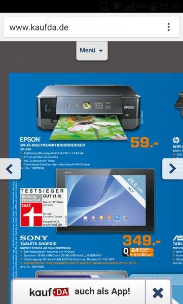 [lokal Saturn Flensburg] Epson  Drucker Expression Premium XP-520 für 59€ mit Nutzung der cashback Aktion von Epson nur 39€