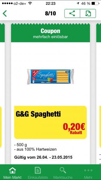 [Marktkauf] Gut&günstig Spaghetti mit marktkauf app-coupon 0,29