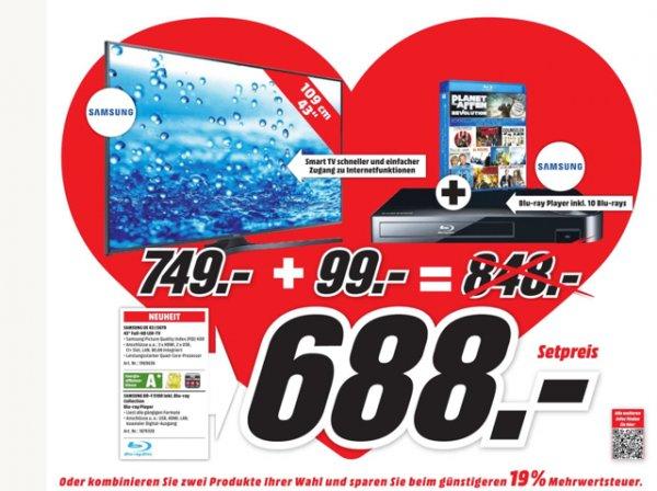 Media-Markt Wolfsburg - Samsung UE 43 J 5670 + Blu-ray Player inkl. 10 Filme