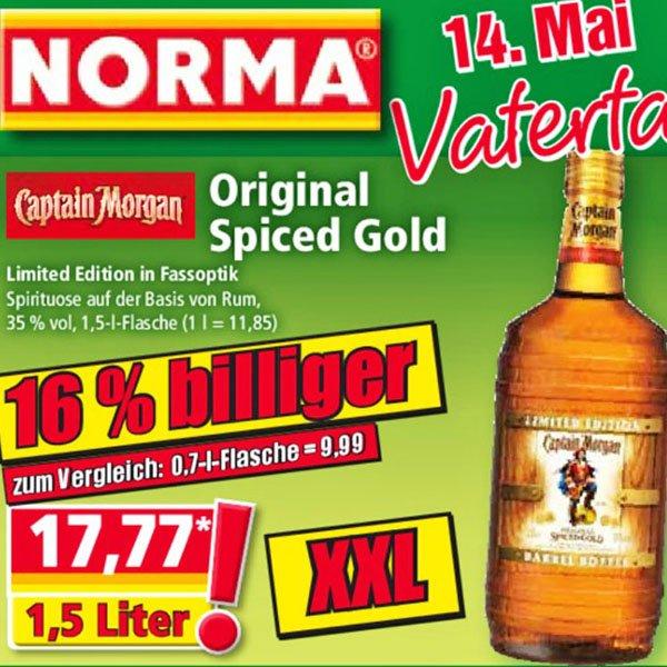 Captain Morgan 1,5 Liter für 17,77 ab 11.05.2015 [NORMA]