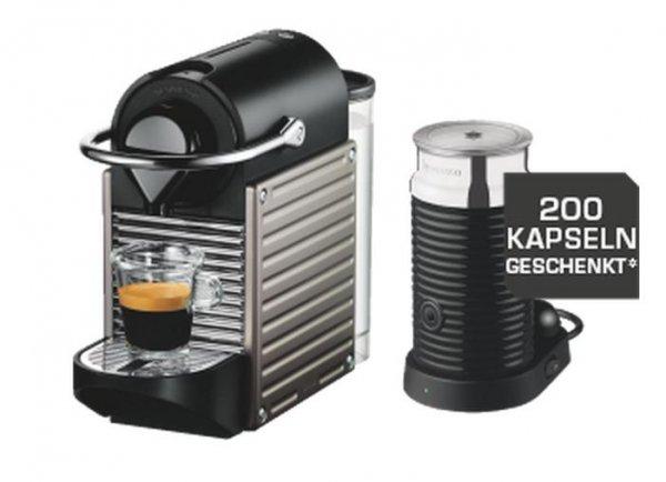 [Saturn HH Mönckebergstr.] Nespresso Pixie und Aeroccino 3 (XN 301 T) für € 139 + Gutschein (200 Kapseln)