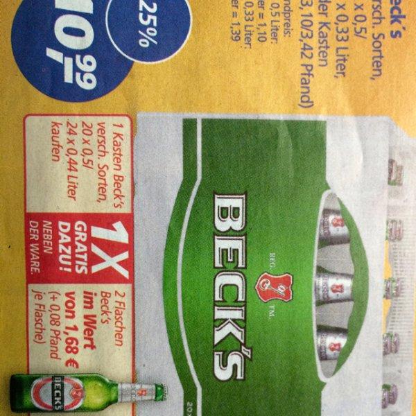 real,- Becks für rechnerisch 8,90€ für 10l am Mittwoch