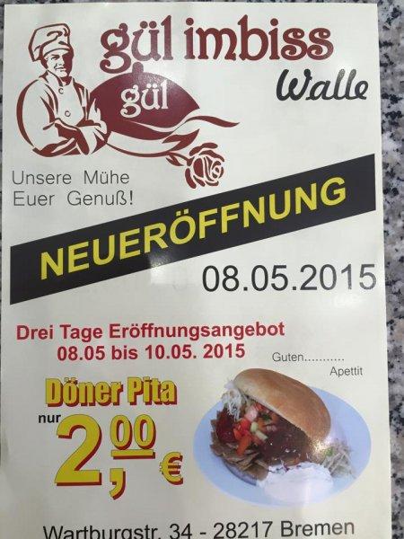 [Lokal Bremen] Neueröffnungsangebot: Döner für 2€ bei Gül Imbiss Walle