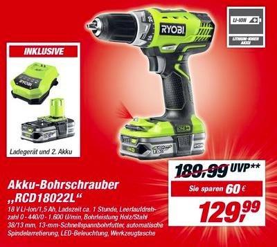 "Akku-Bohrschrauber ""RCD18 - 022L / LL25S"" mit 2 Akkus (2.5Ah!), Tasche und Ladegerät bei Toom"