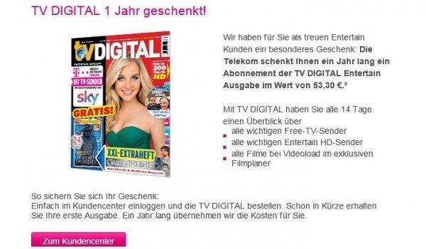 TV Digital 1 Jahr kostenfrei für Entertain-Kunden