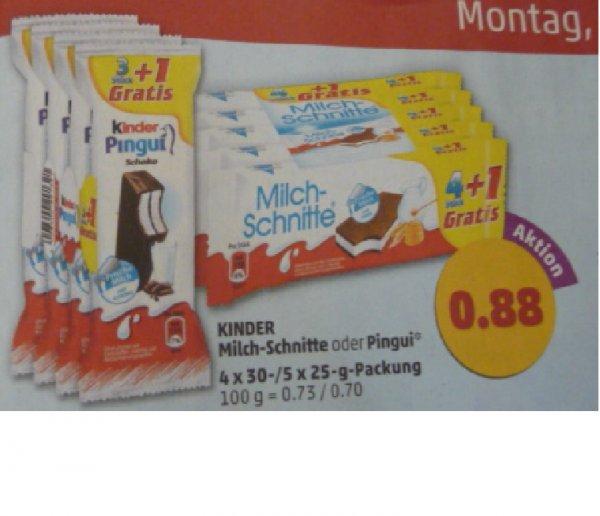 Penny: Milchschnitte 4+1 oder Kinder Pingui 3+1 für je 0,88 Euro