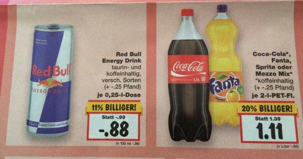 Kaufland ab 11.05. Redbull Dose -,88 Cent &  Coca Cola, Fanta, Sprite, Mezzo Mix die  2L Flasche 1,11,- entspricht  0,56,- Liter Preis
