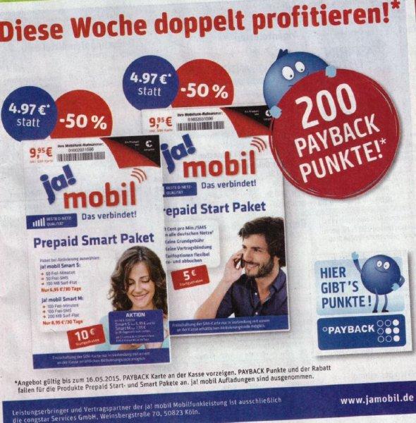 REWE JaMobil Starter Set für 4,97 Euro + 200 Payback Punkte (bis 16.05.15)