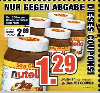 Nutella 500g bei Möbel Buhl für 1,29€ [Lokal Wolfsburg und Fulda]