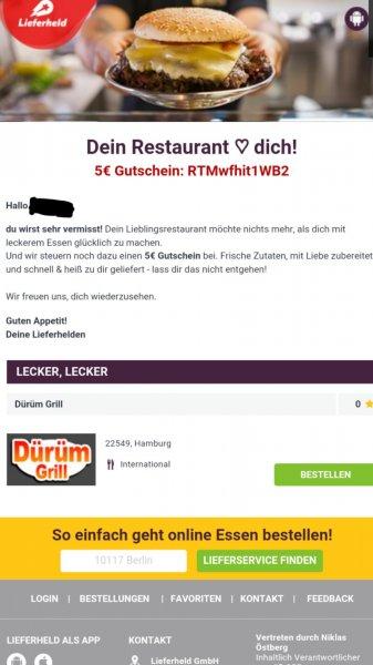 Lieferheld Gutschein iHv EUR 5 mit Mindestbestellwert von EUR 15 gültig bis 17.05.2015
